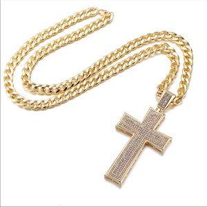 Gold big size cuban cross necklace